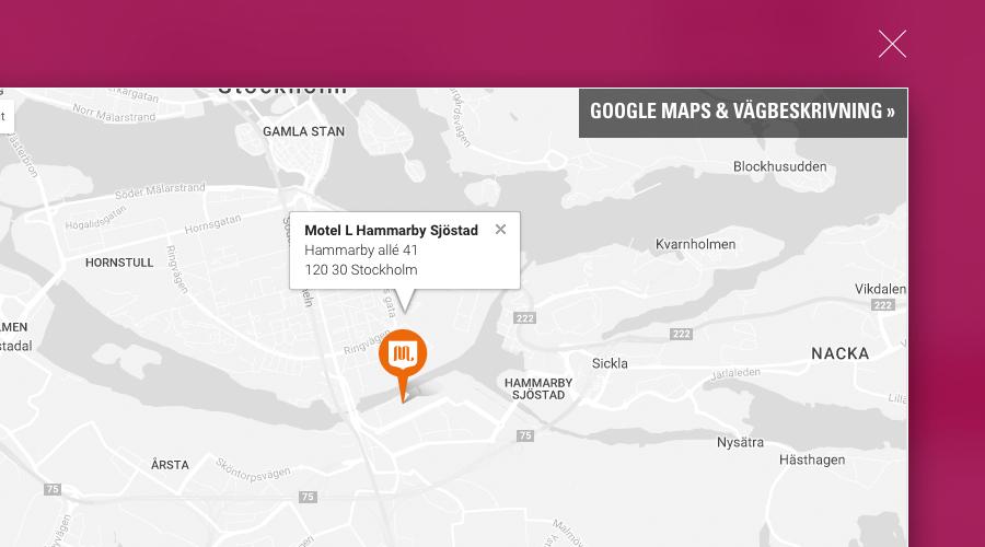 Varumärkesanpassade kartor, här för Motel L