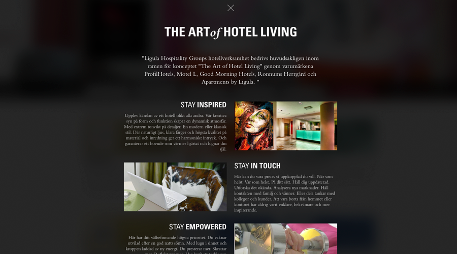 The Art of Hotel Living – Ett övergripande Ligulakoncept