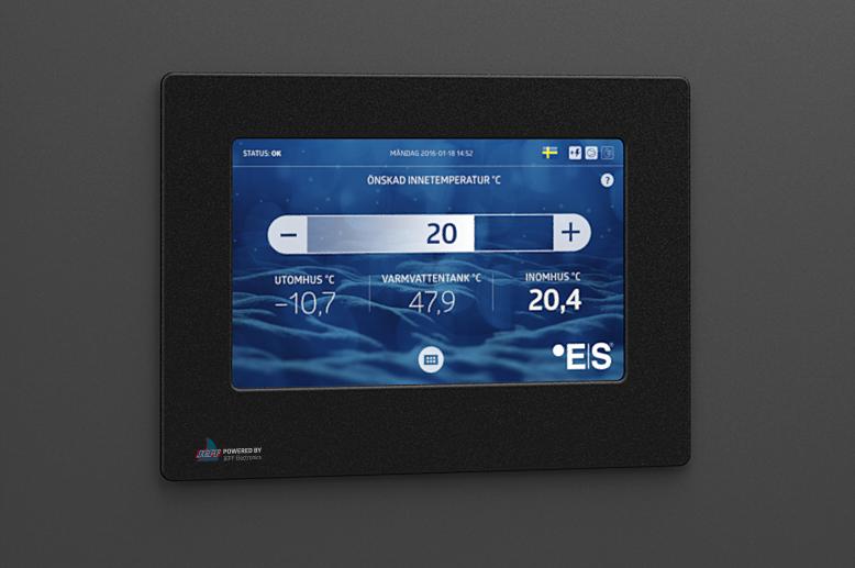 Användargränssnittet visas påen tryckkänslig 7-tums LCD-display som ger användaren full kontroll över värmesystemet.
