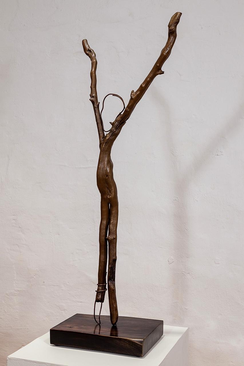 Irons cast bronze, 94 x 40 x 8 cm,walnut base, steel dowel 5 x 30 x 22 cm, 2012