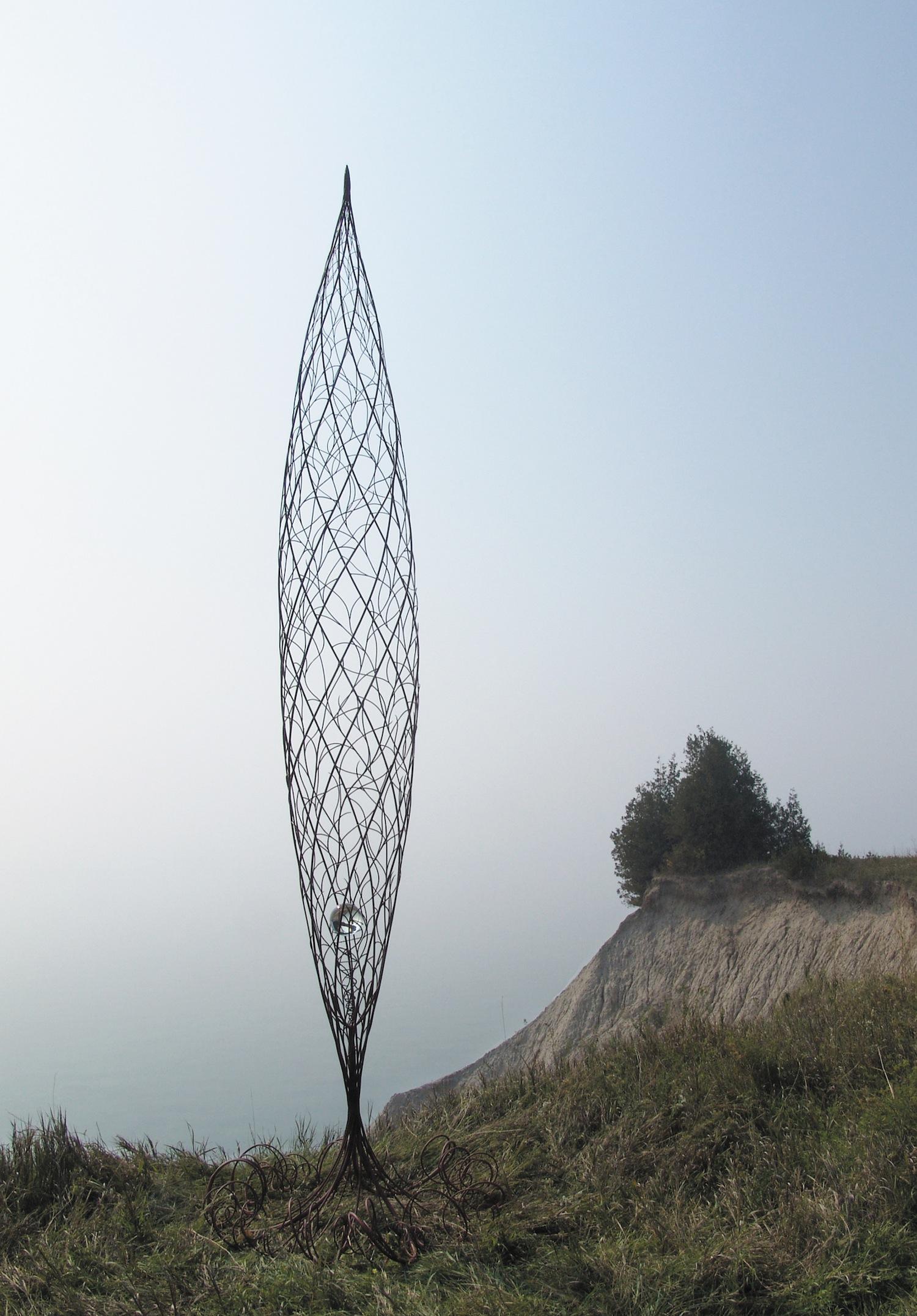 Genesis , 2003-2004 steel rods, primer, crystal ball/egg,480 x 120 cm
