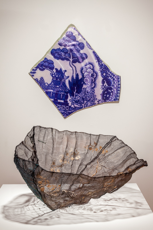 Shard   Oriental Blue Willow pattern, 2009 photo, mixed media, 67 x 70 x 3 cm   Tablelands , 2008-10 Fish-net rope for hooking, larch   driftwood fragment, antique lace