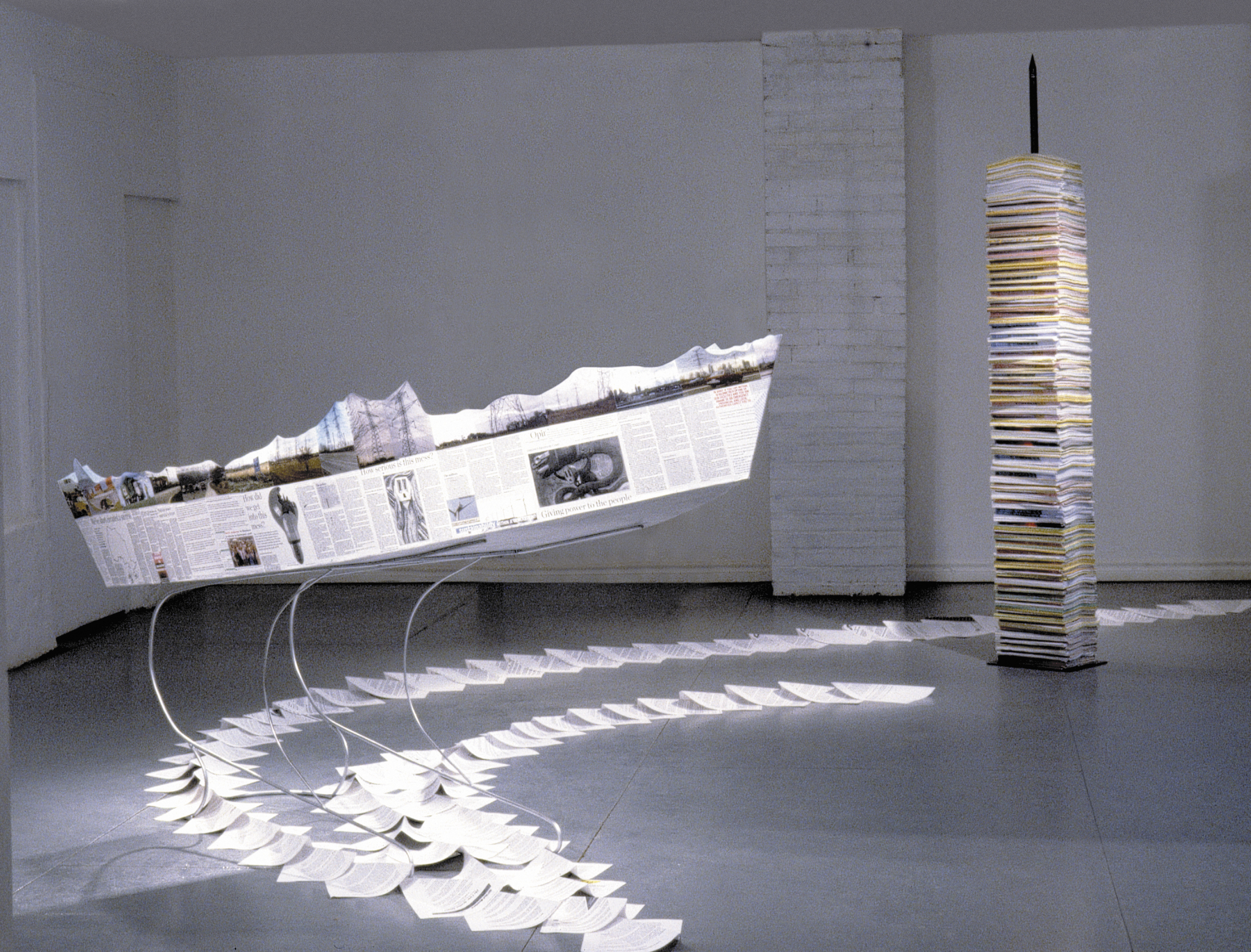 Ship of State , 2004 Wood, paper, steel spike.Steel spike210 cm, boat on steel stand: 90 x 210 x 90 cm