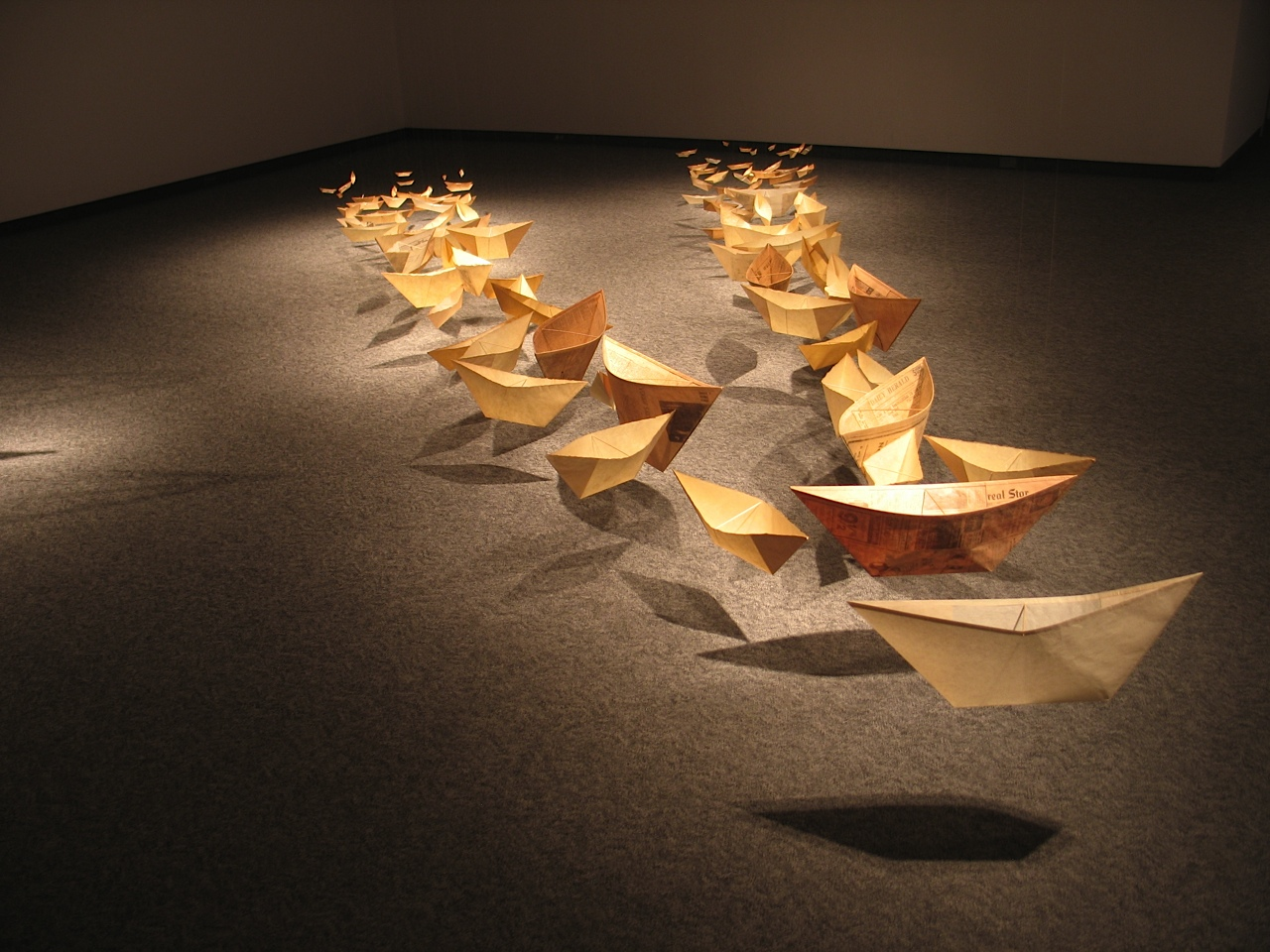 Yesterday's News: Seven Generations,  2002 - 2004 Japanese rice paper, fishing line.90 x 630 x 360 cm