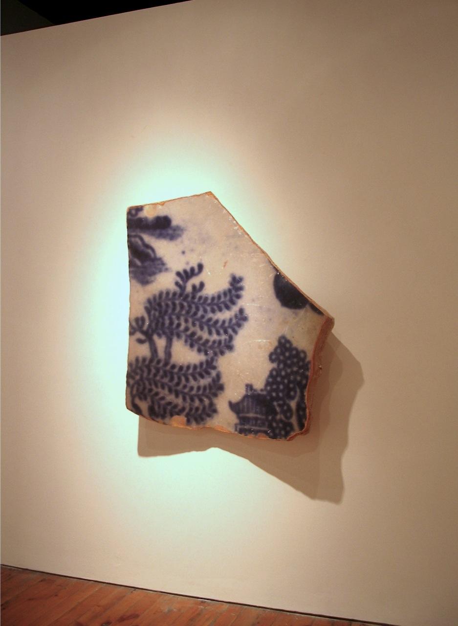 Shard Oriental Blue Willow pattern, photo, mixed media  110 x 110 x 25 cm, 2011