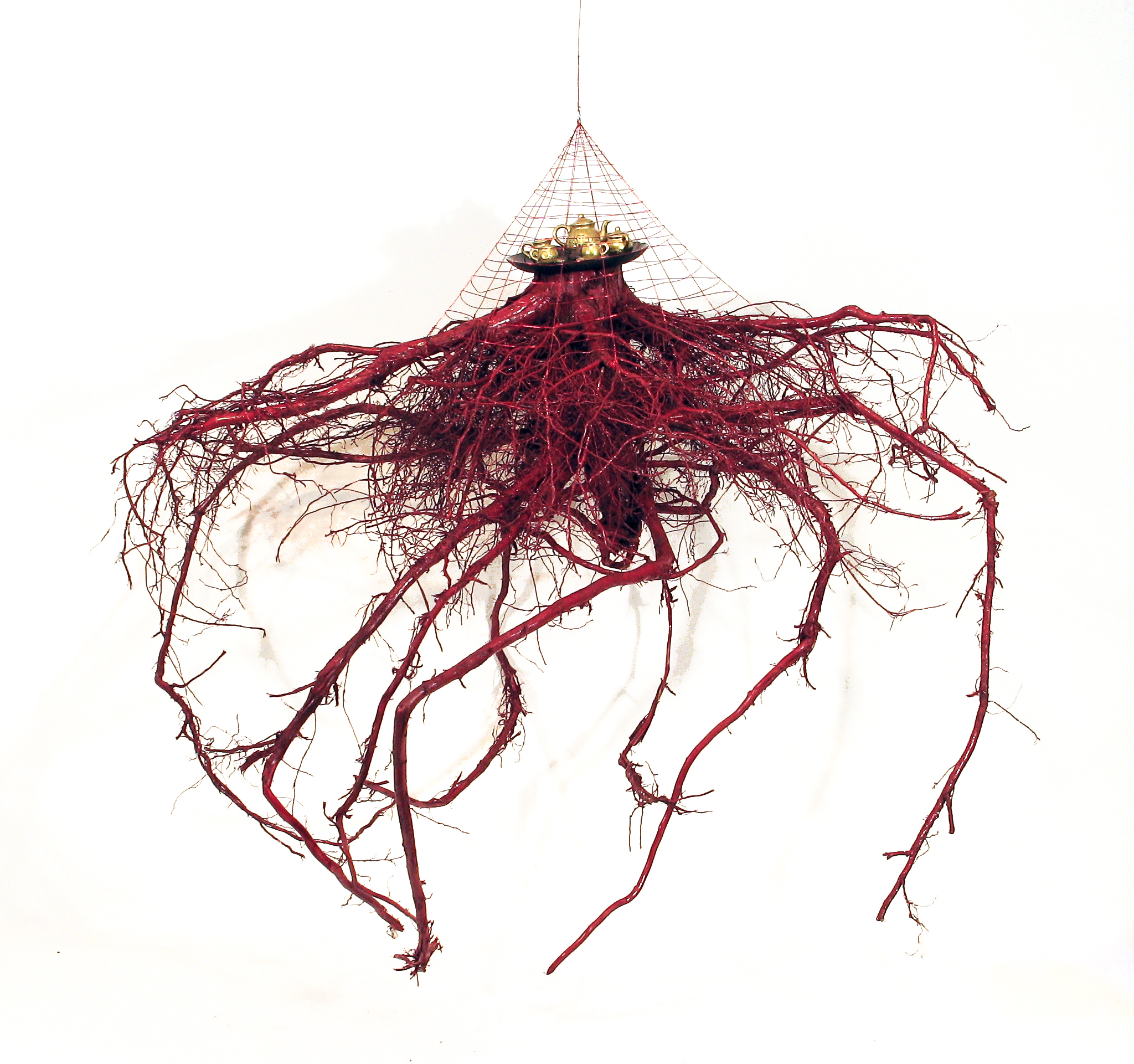 """""""Will You Won't You Come To The Dance?""""  ,2015 tree root, paint, china (tea service), glass (tray), red wire 54"""" x 44"""" x 44"""""""