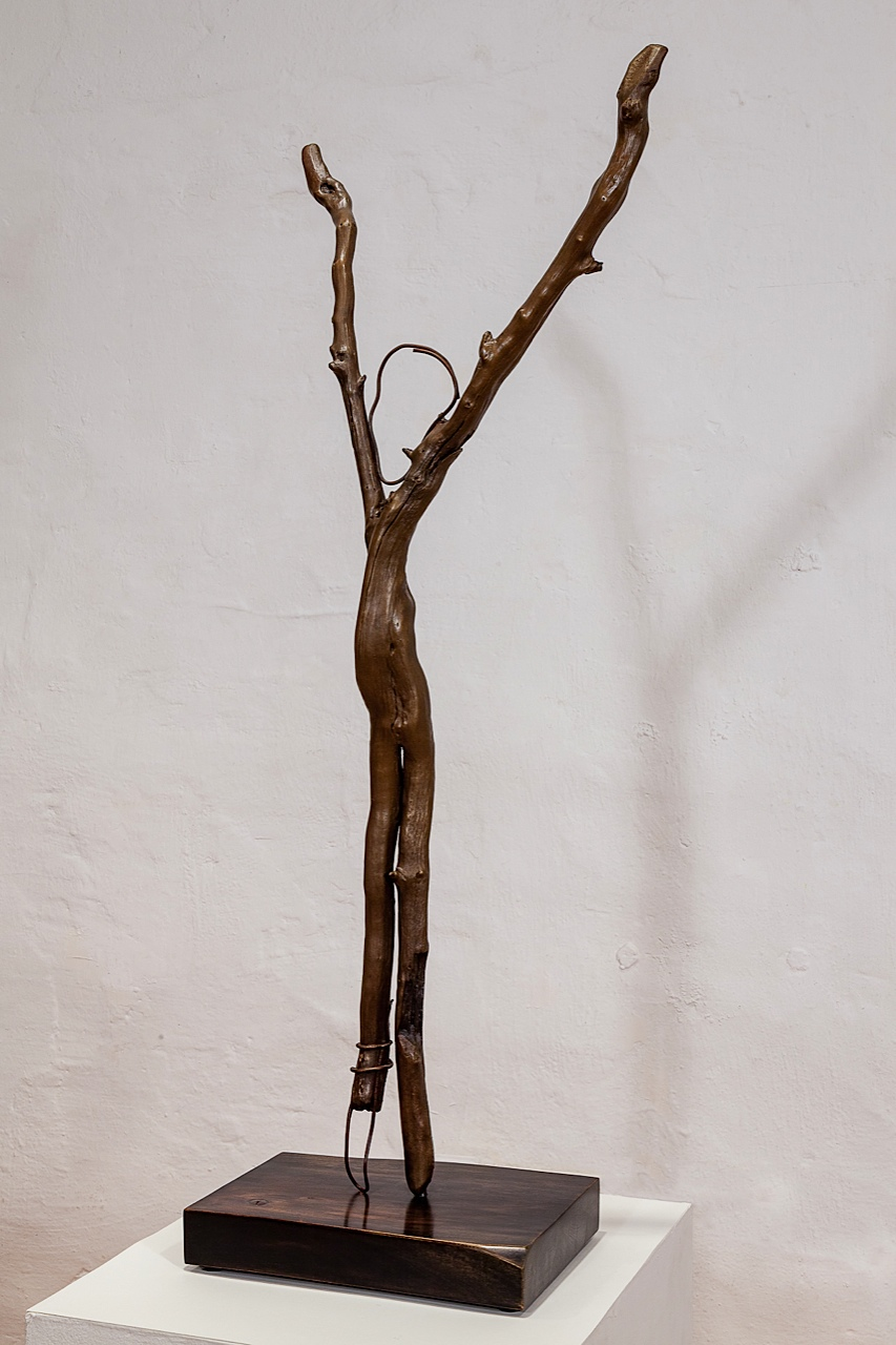 SALLY THURLOW, Irons, Edition of 6  cast bronze, 94 x 40 x 20 cm, 2011 - 12 walnut base, steel dowel 5 x 16 x 30 cm, 2012