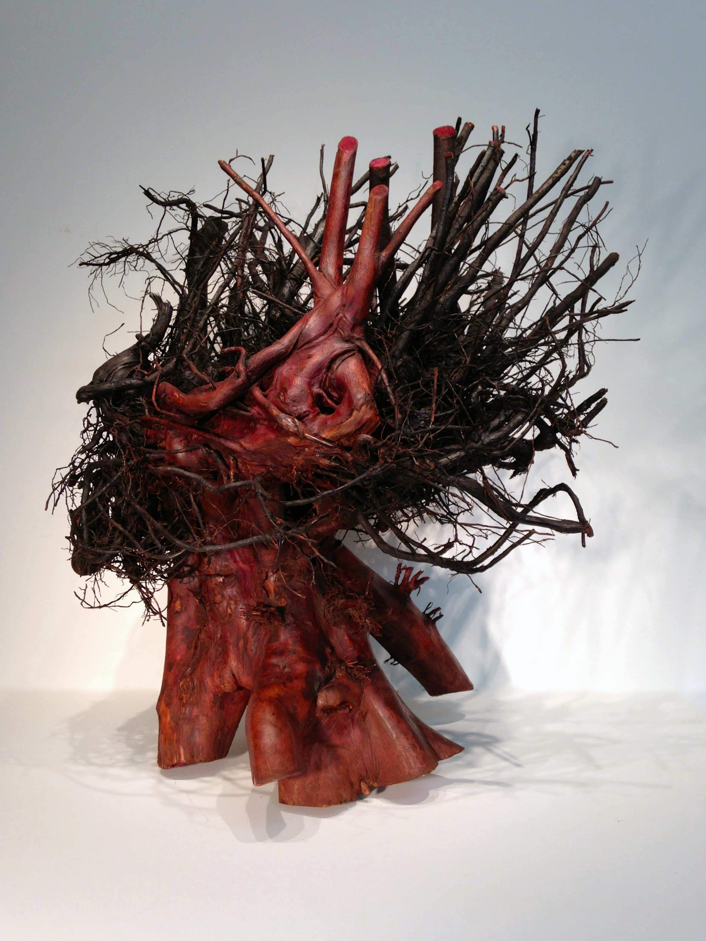 Black Madonna  2014  Tree root, wood stains, 28 x 28 x 24 inches. Stands on a 4' tall steel plinth