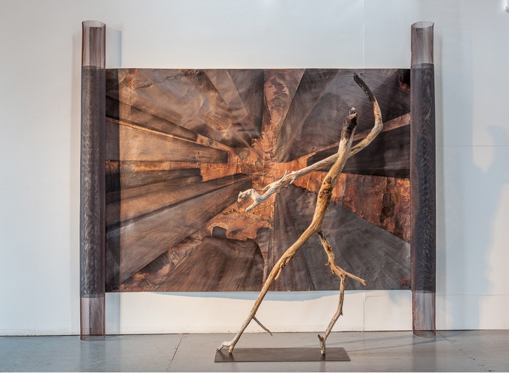 Burned,  2011   Newfoundland & Lake Ontario driftwood 200 x 110 x 30 cm with  Bay & King Collective Unconscious  250 x 280 x 20 cm,  1994