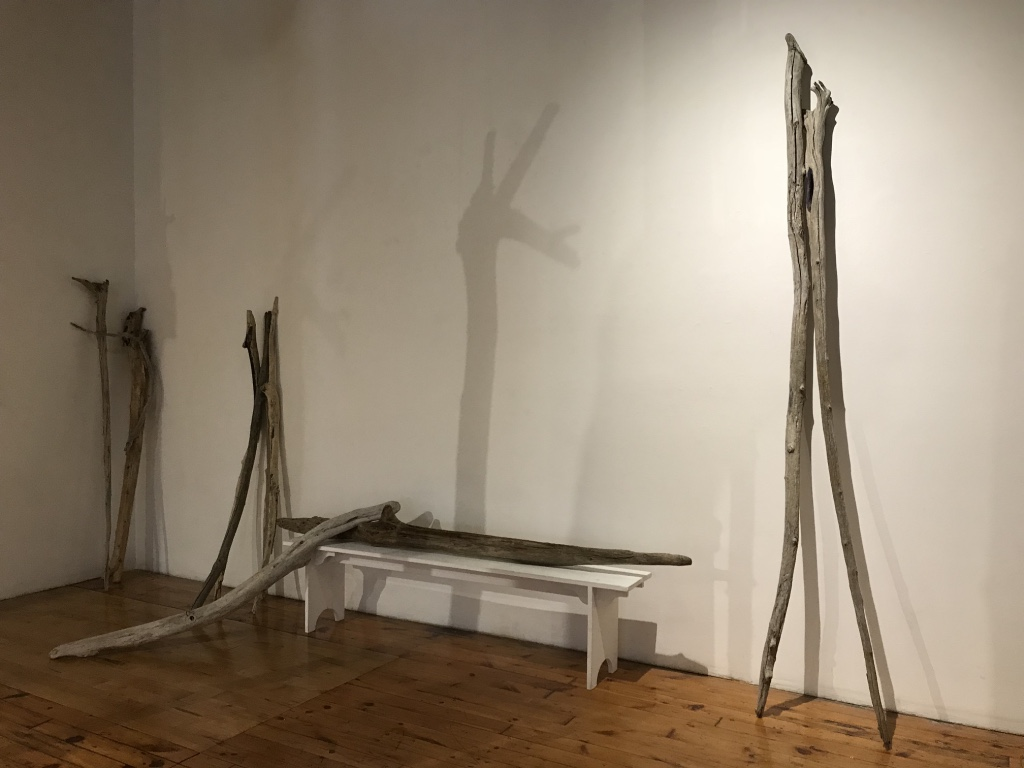 """Wandering In The Inquiry"" William Woodworth/ Raweno:kwas , 2018 Driftwood from many beaches"