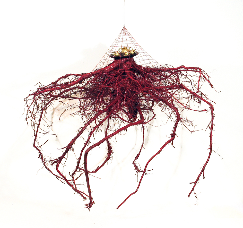 """Will You Won't You Come To The Dance?""""  , 2015 tree root, paint, china (tea service), glass (tray), red wire 54"""" x 44"""" x 44"""""""