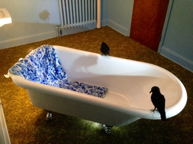 What The Nuns Told Me  Bathtub, dummy crows, nightgown, bathmat, plaster feet