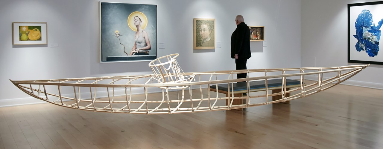 Corset-Kayak , 2000 Driftwood cedar, bent willow, linen strings 50 inches x 122 inches x 23 inches