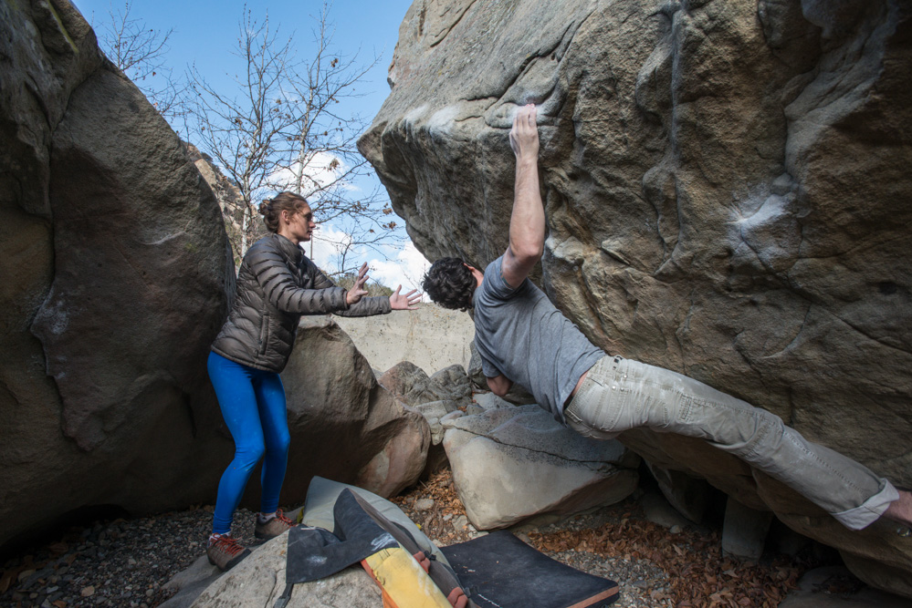 Morgan Roth projecting his long time project, Lycraverse V7/8.