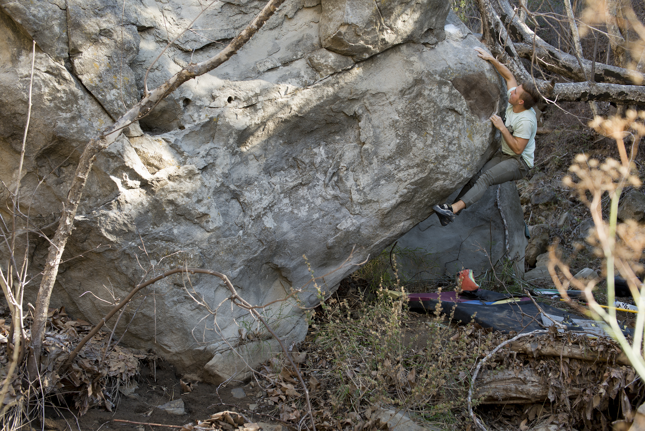 Trevor Seck on getting the FA ofnewly developed moderate deep in the Santa Monica Mountains