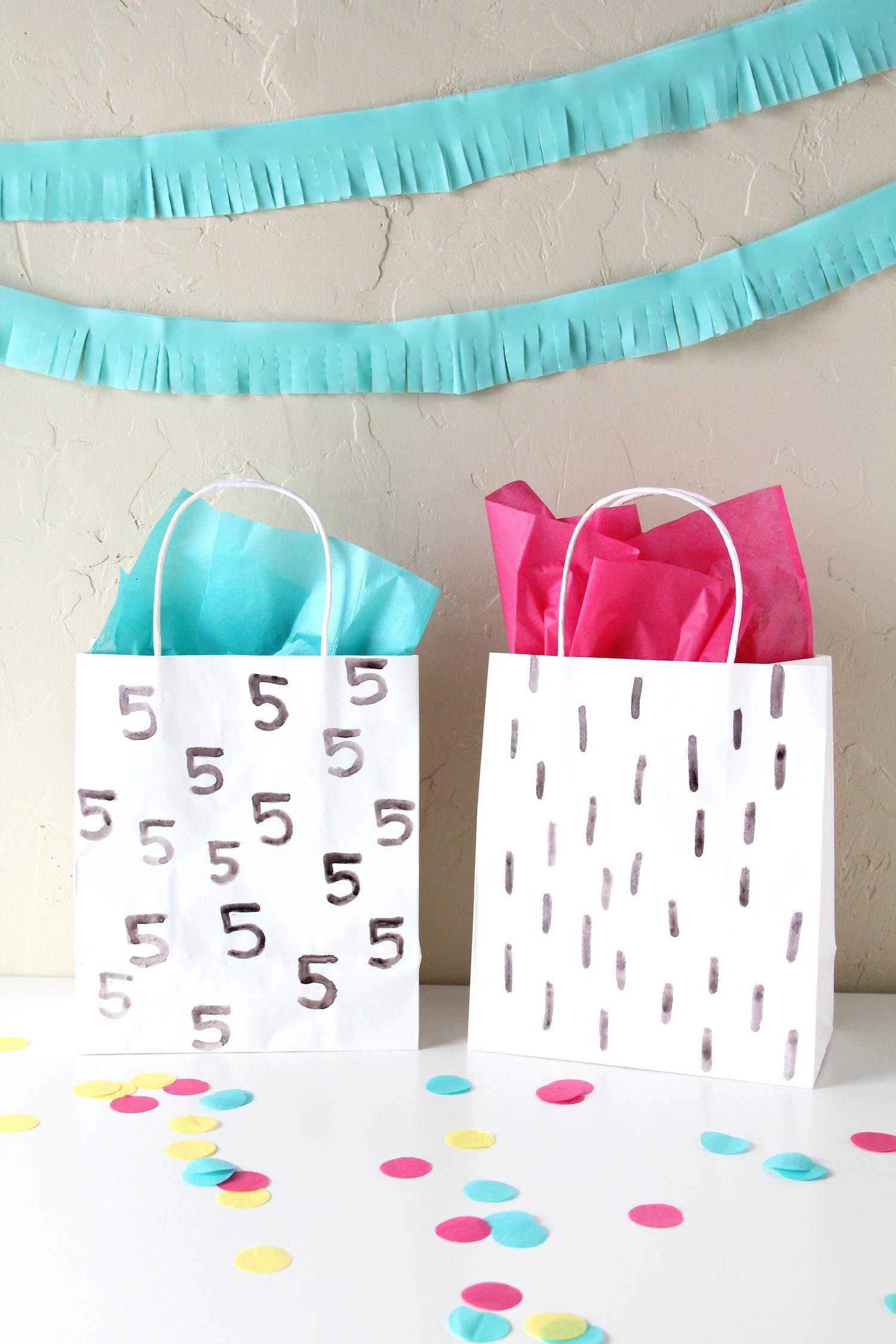 Easy watercolor gift bags
