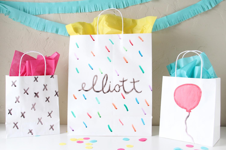 Watercolor gift bags
