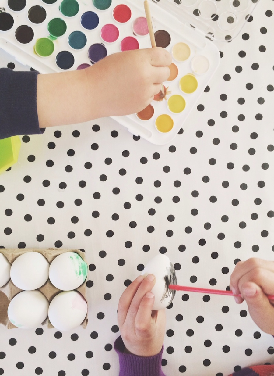 Watercolor plastic eggs