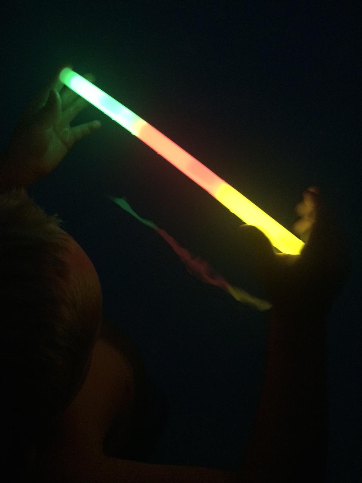 Glow sticks in the pool