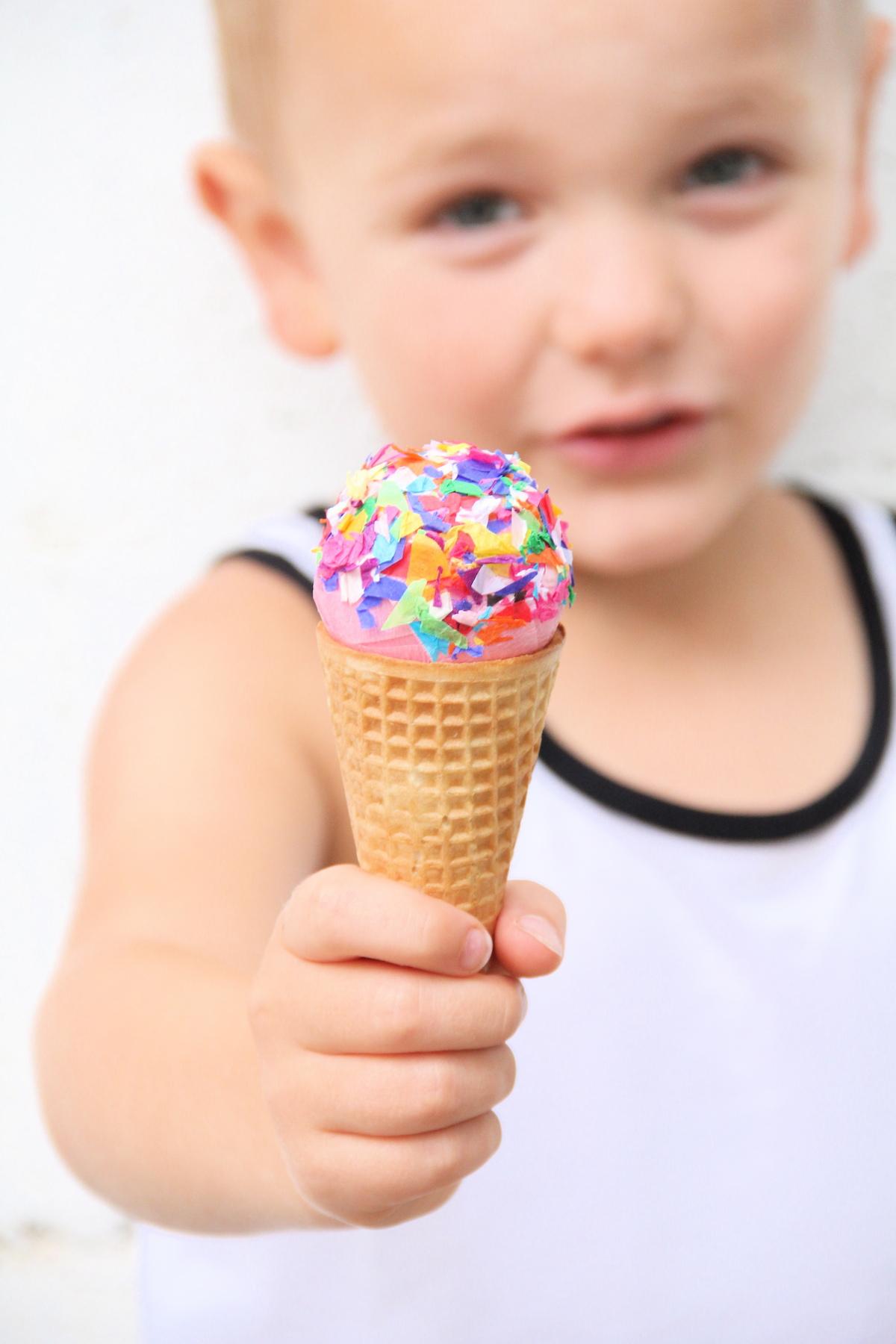 Ice cream cone surprise balls DIY