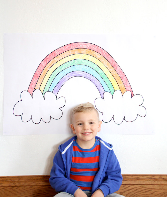 Printable rainbow coloring poster