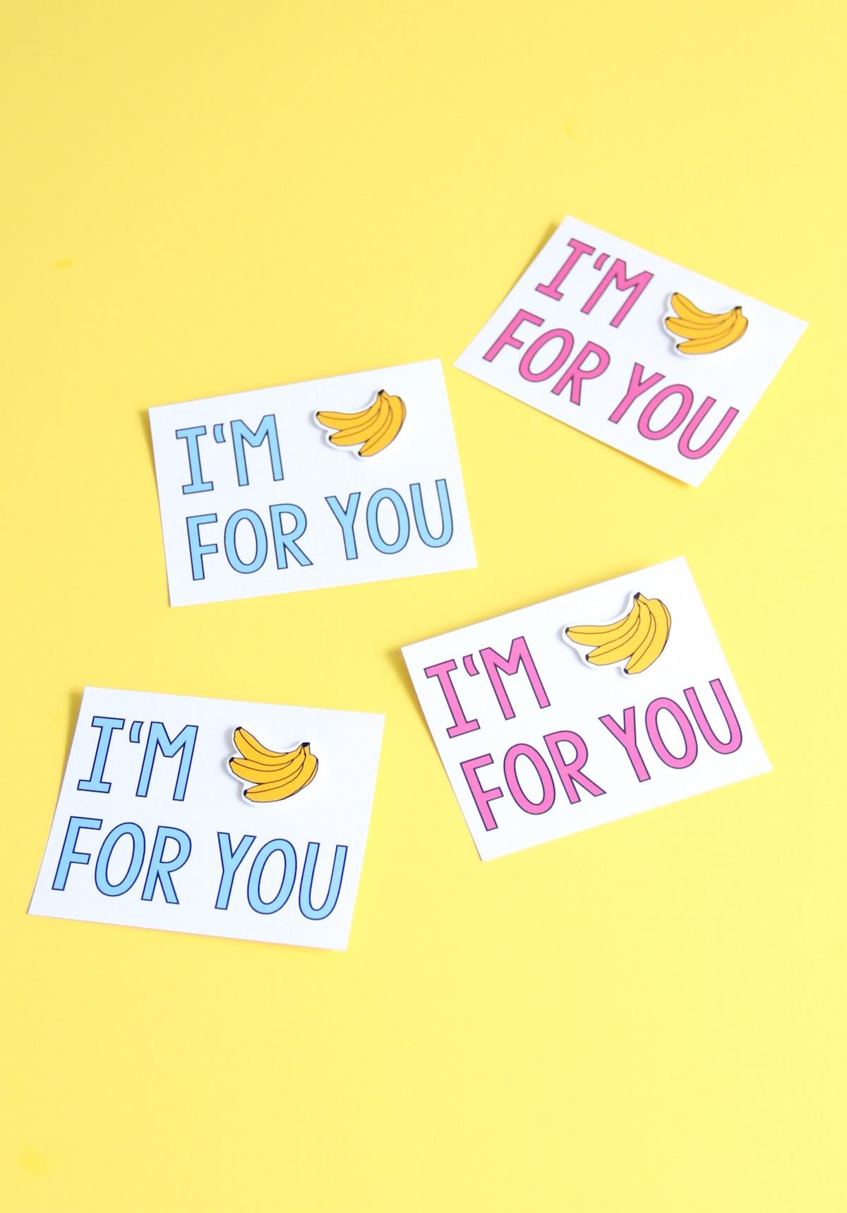 Bananas for you valentine printable + DIY pin! | And We Play