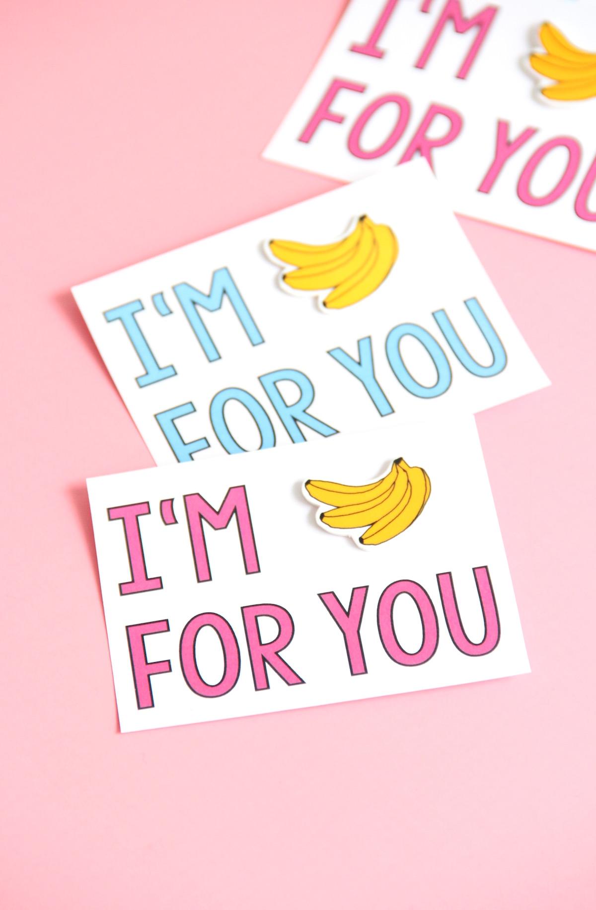 Bananas for you valentine printable + DIY banana pin! | And We Play