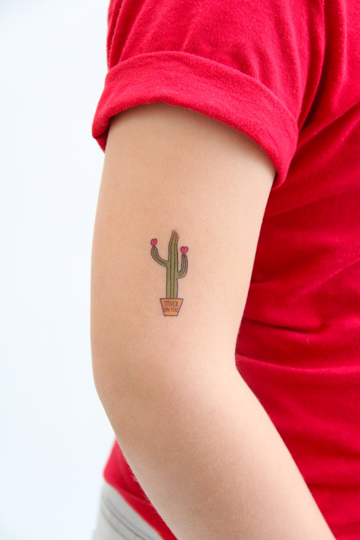 Stuck On You Cactus Valentine Temporary Tattoos   And We Play