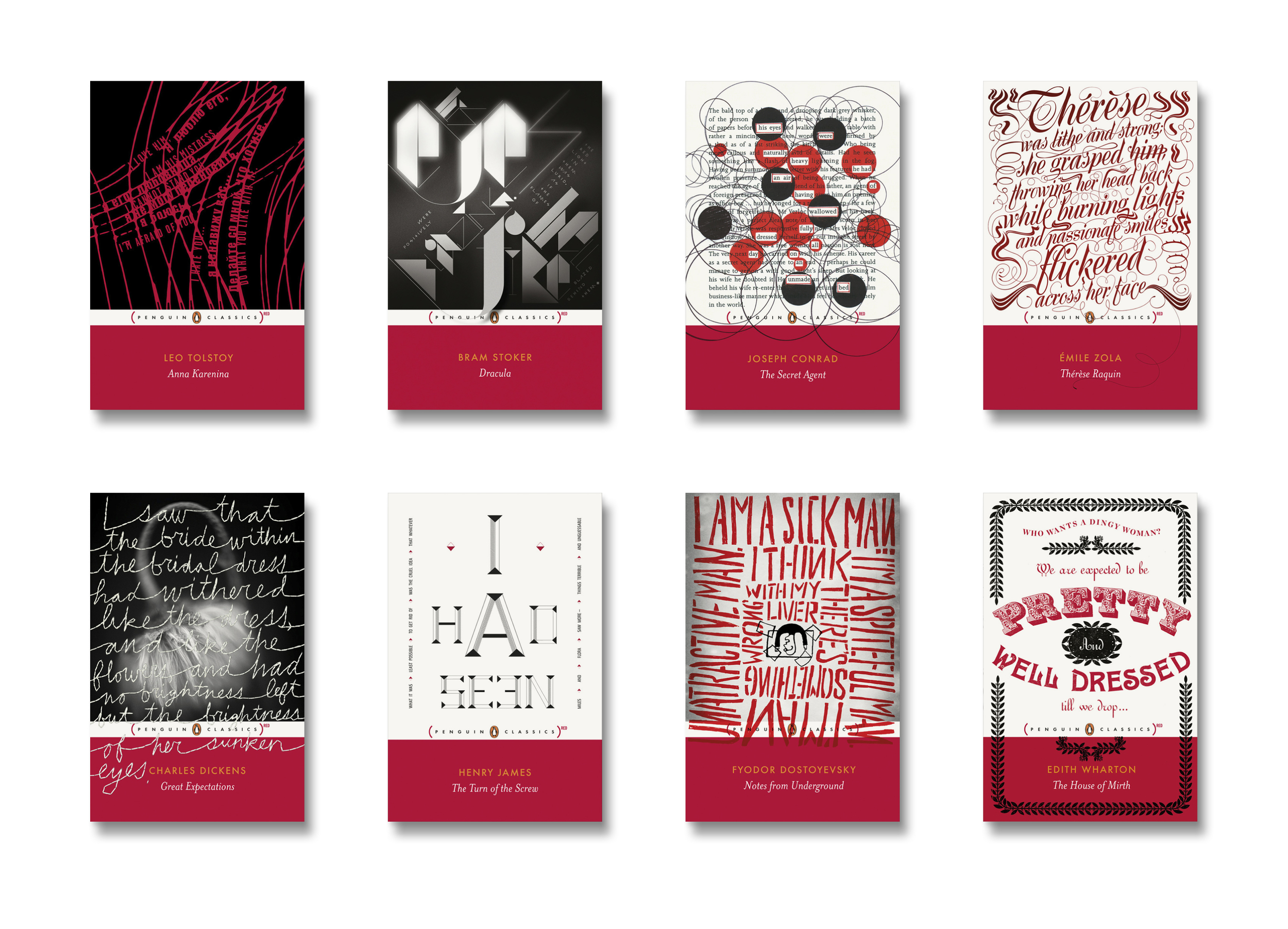 Penguin [RED] Classics -  Art Direction: Jim Stoddart Design by: Fuel Non-Format Coralie Bickford-Smith Jim Stoddart Stefanie Posavec Studio Frith Gray318 Nathan Burton