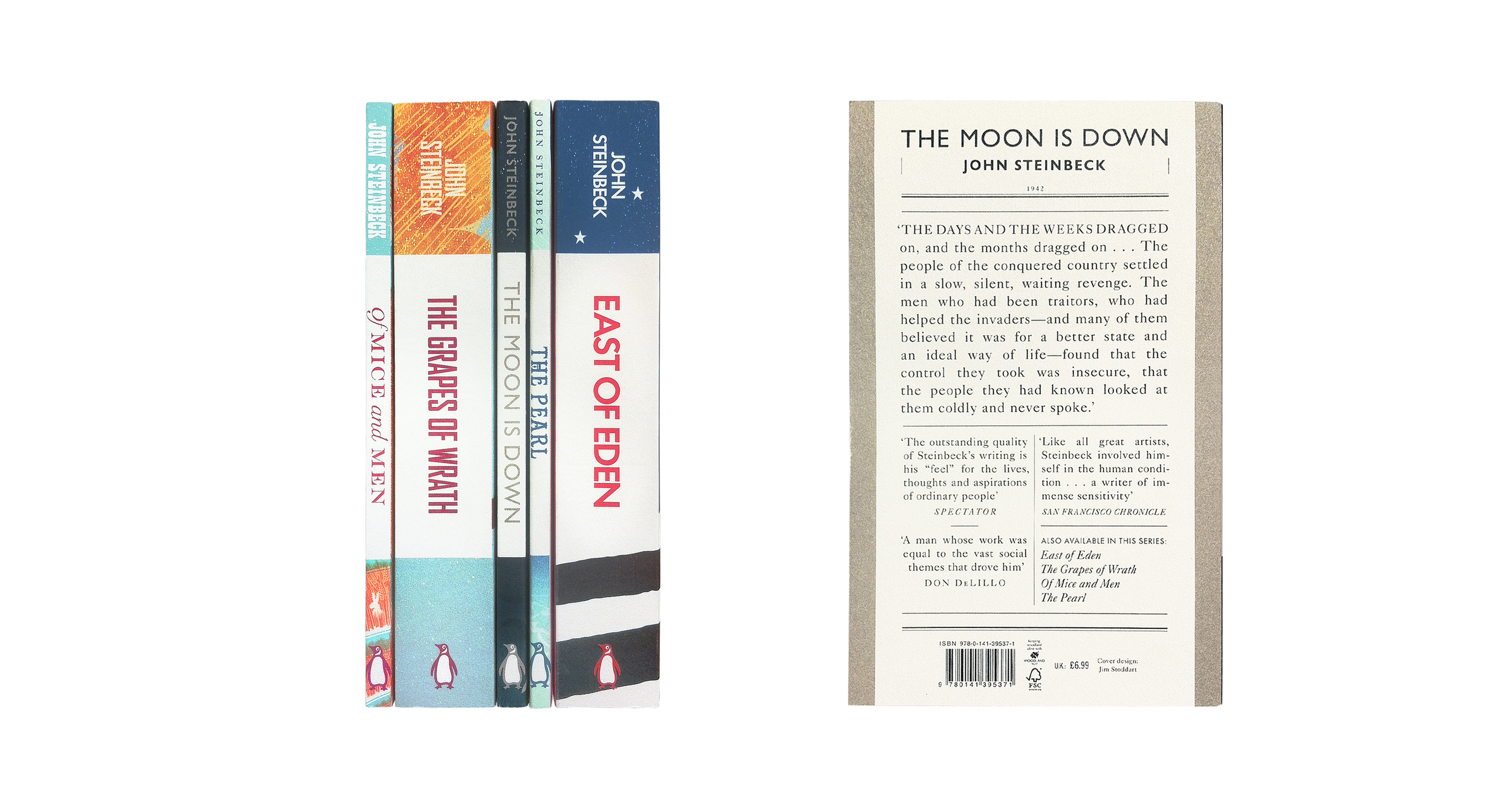 East of Eden; The Moon is Down; Of Mice and Men; The Grapes of Wrath; The Pearl by John Steinbeck Spines & Back Cover - Design: Jim Stoddart