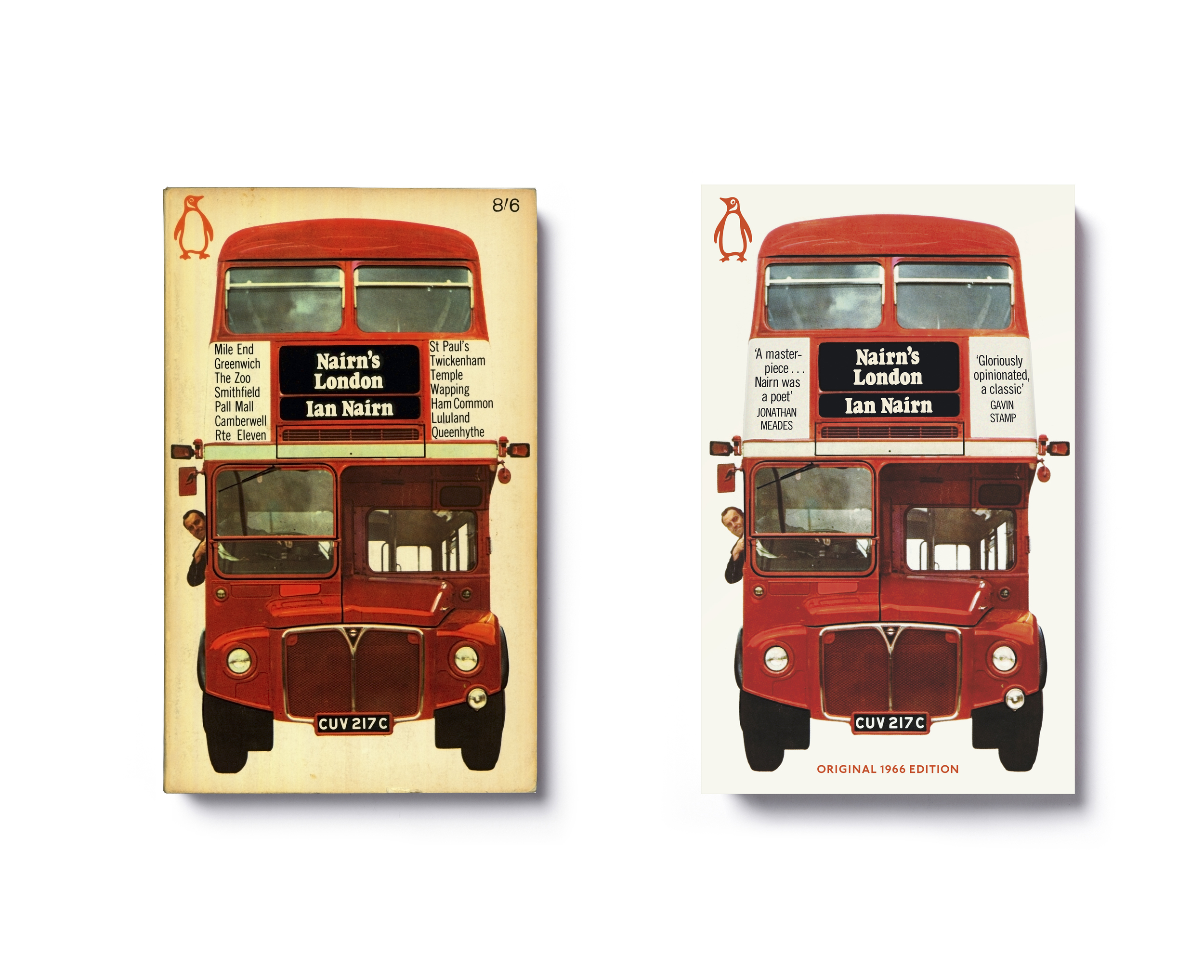 Nairn's London by Ian Nairn -  Left : 1966 paperback design: Michael Norris photography: credit to come  Right : 2014 paperback edition update: Jim Stoddart