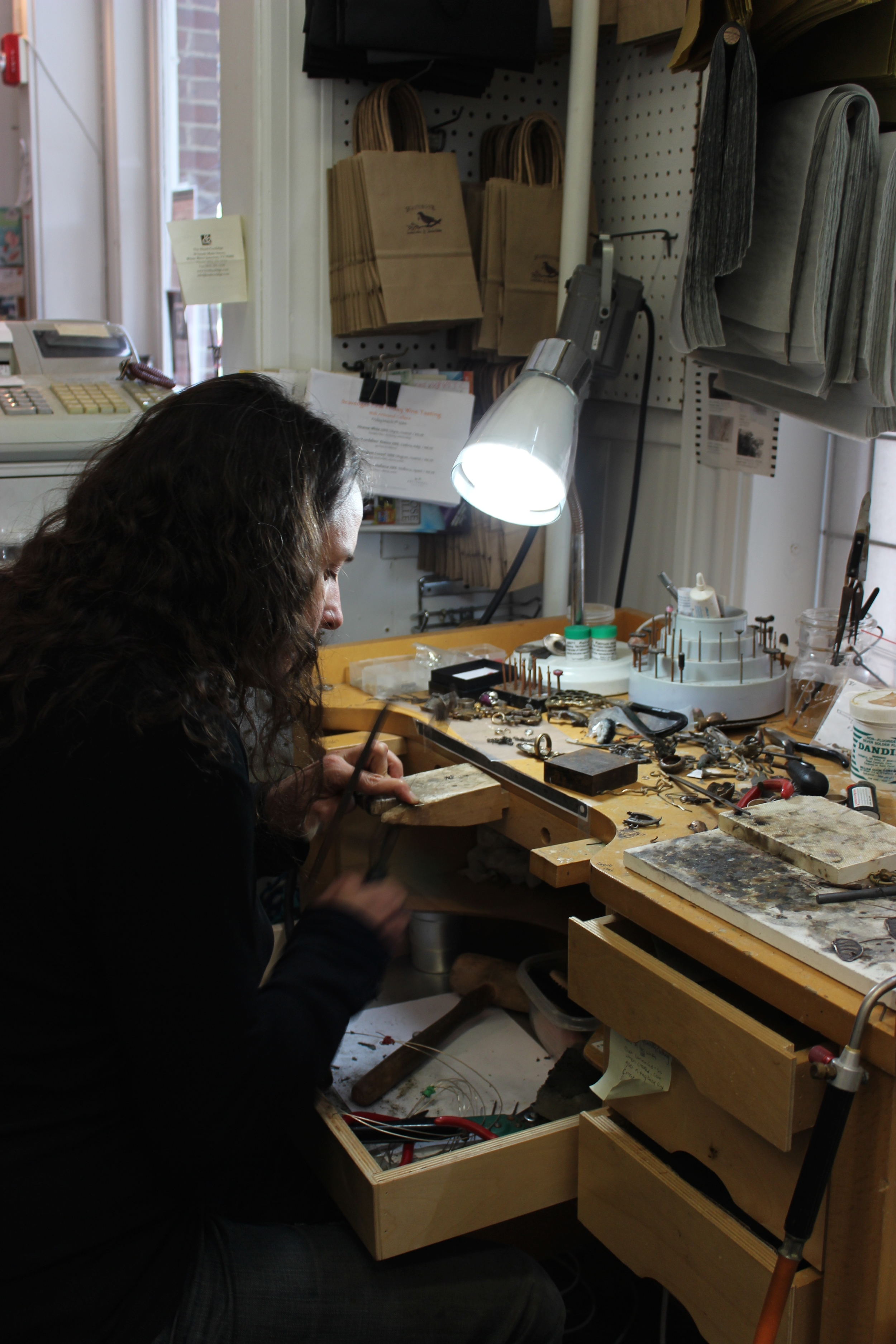 The Master sizing my beautiful stag scarab ring. The ring is from her Coleoptera Collection.