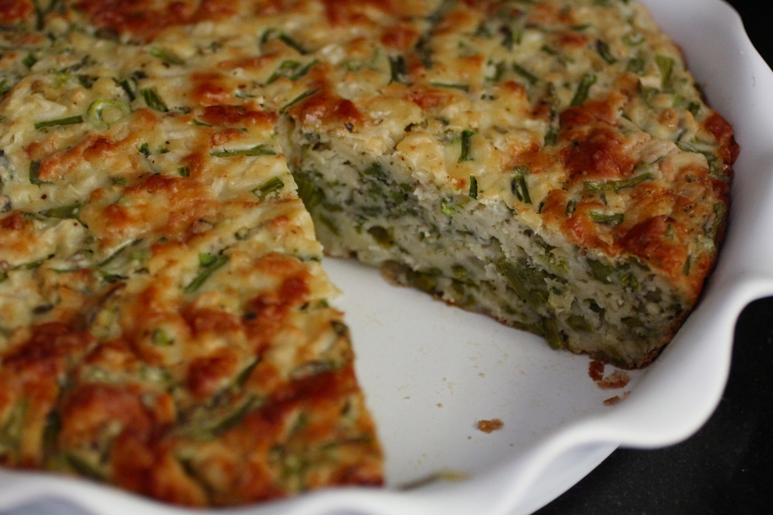 To make this crustless quiche, see my  squash pie recipe . Substitute 14-16 ounces of thin-speared spring asparagus (sliced crosswise) for the zucchini. Omit the nutmeg.