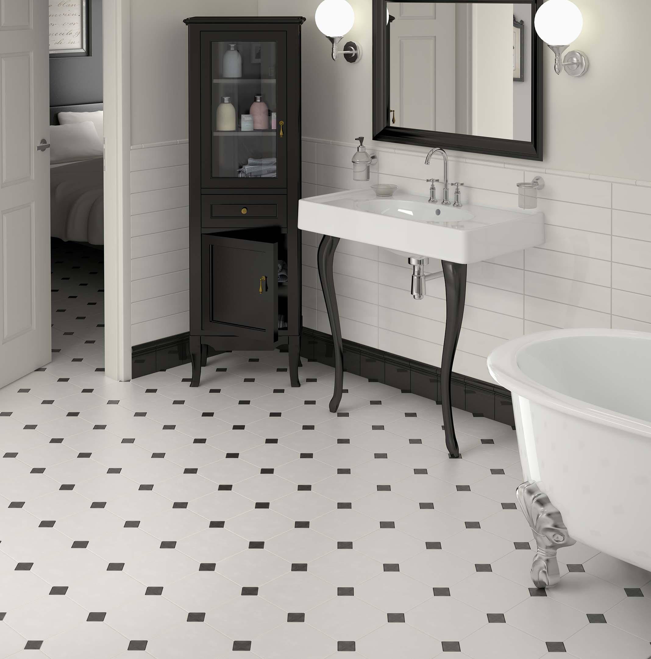 White octagonal floor tiles with black 'dot' inserts