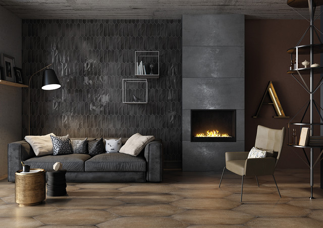 75x300 CRAYONS Charcoal makes a beautiful & dramatic statement as a feature wall.