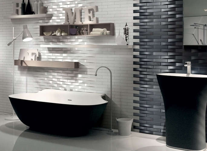 50x200 WAVE tiles from Self of Italy.  Available in matt & gloss finishes in black & white
