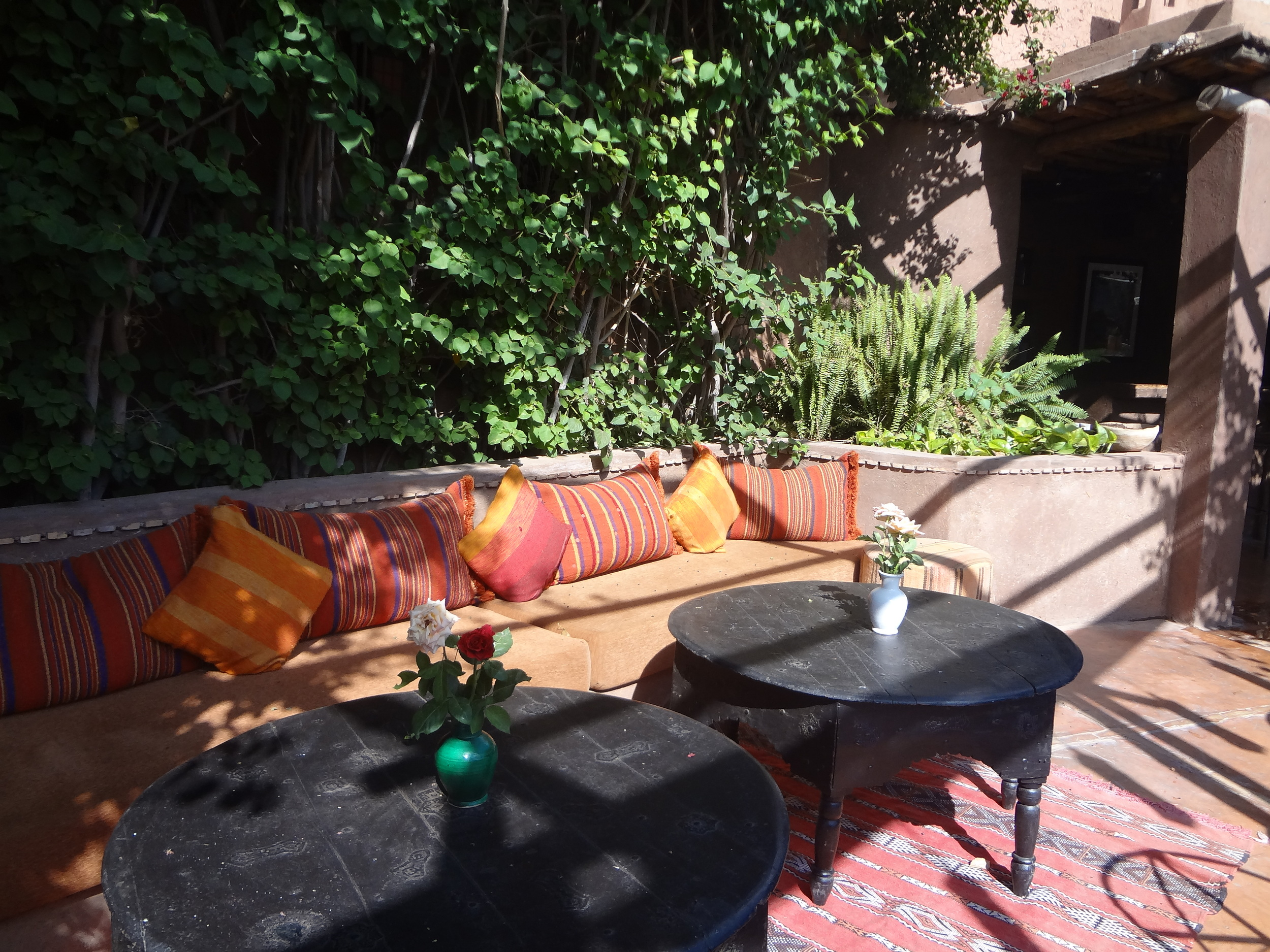 Marsala colored outdoor seating