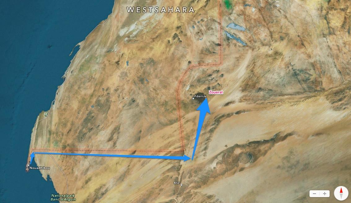 Nouadhibou - Zouerat 652 Km Staub schlucken