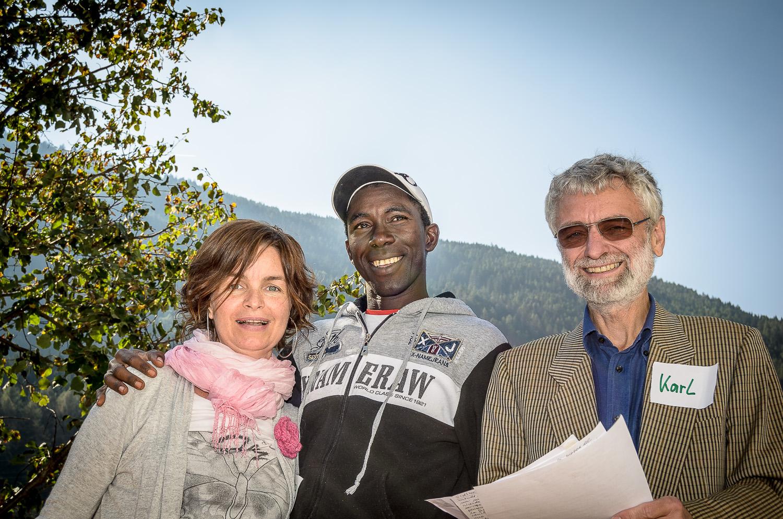 Elisabeth Tauber, Amadou Diallo, Karl Tragust beim Abschluss-Workshop.(2012)