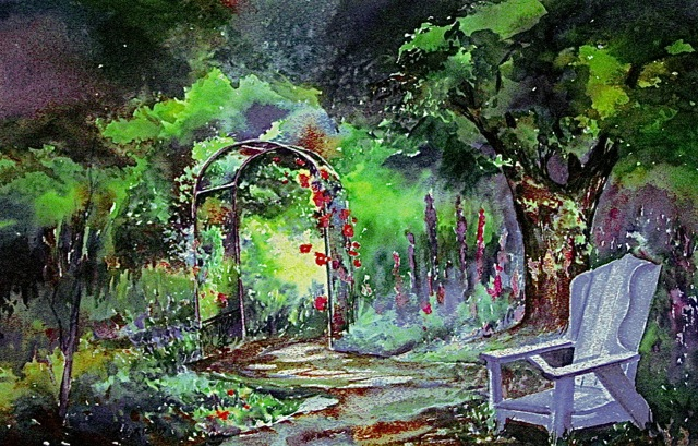 Blue Chair Near Lupine Garden - 18 x 26 watercolor