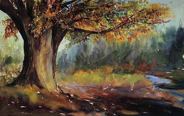 Autumn Tree - 18 x 26 watercolor