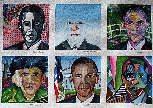 Obama by Court Artists     16 x 20 watercolor - How would have the masters portrayed Obama?