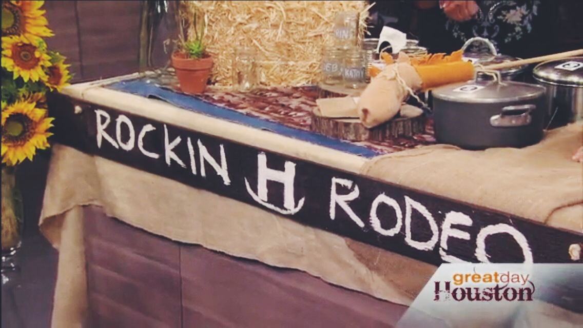 i had this piece of wood from another project so i added some paint with a rodeo title and bam you've made your backyard rodeo official.