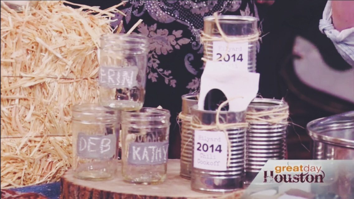 repurpose cans for chili and mason jars for drinks.