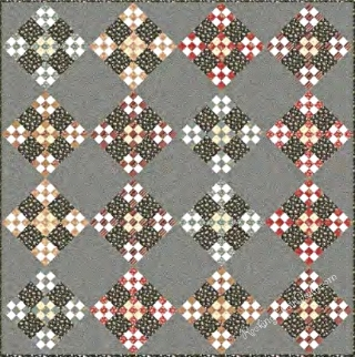 Nine Patch Grove Quilt featured fabrics form all 3 of the groups, we will have this kitted for you in November, 2015