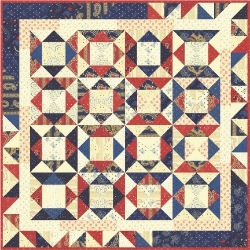 """This month's sweet little Frivol quilt, Faithful finishes to about 26"""" x 26"""""""