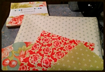 I'm going to use fabrics from  Somerset by Fig Tree Quilts  -  for my shuffle blocks.  I love this fabric and haven't had  a chance to sew something with it.  I  will give it a try and see how it turns into a beautiful sampler quilt in the coming weeks