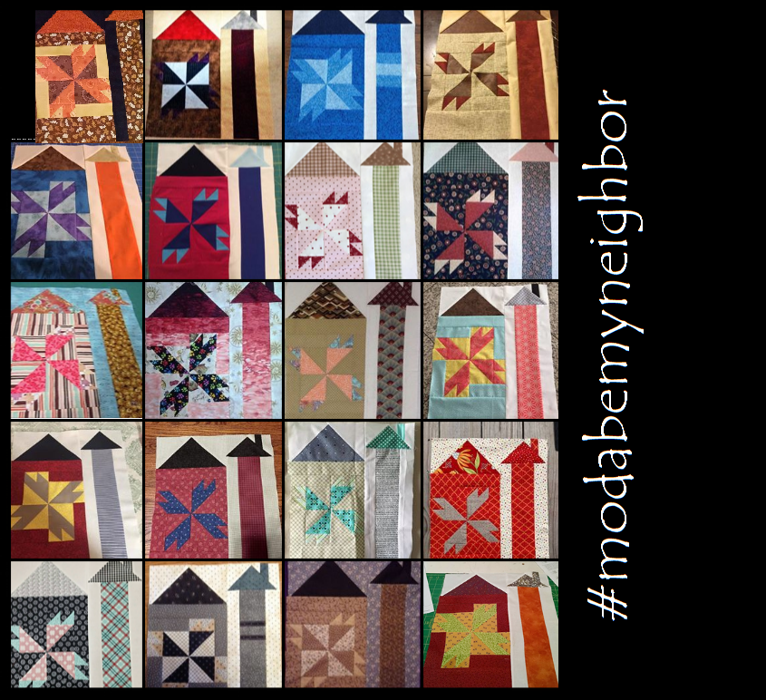 A veritable palette of diversity. Uploads from #modabemyneighbor Quilt - A- Long participants Block 2 photo share.