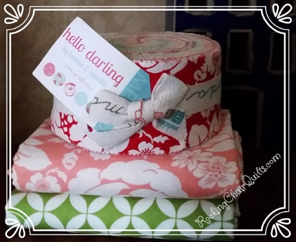 WEEK 4 PRIZE:  Hello Darling by Bonnie and Camille  for Moda Fabrics Jelly Roll and 2 yards of fabric!