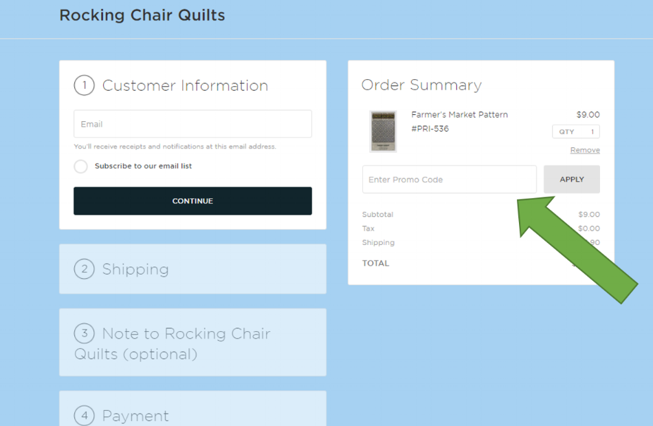 EXAMPLE OF CHECKOUT PAGE.  TYPE DISCOUNT CODE IN BOX AS SHOWN